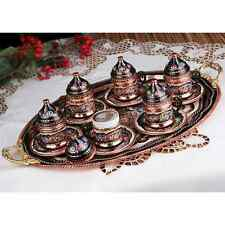 Handmade Copper Turkish Coffee&Espresso Serving Set,Tray:TOTALLY HANDCRAFTED