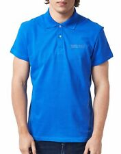 Polo Just Cavalli Man Men Homme T-shirt 100% Cotton collar contrast blue