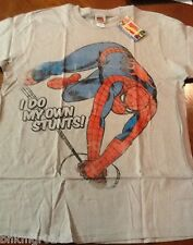 NWT Mens Marvel Comics Spiderman I Do My Own Stunts Gray T Shirt Size L