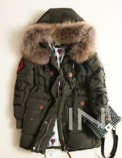 "NEW Women's Real Fur Collar Jacket ""LOVE"" Letters Down Coat Outerwear Green Coat"