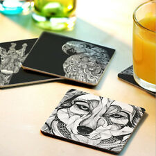 Placemat Wooden Square Tableware Coaster Record Cup Drink Holder Mat