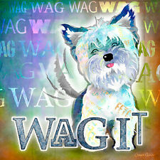 Marmont Hill - 'Wag It' by Connie Haley Painting Print on Wrapped Canvas