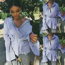 Womens Casual Long Sleeve Shirt Tops Button Lapel Neck Pullover Striped Blouse