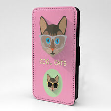 Pink Cool Cat Print Design Flip Case Cover For Apple iPhone - P102