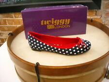 Twiggy London Navy Polka Dot Red Bow Ballet Flats NEW