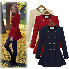 Double-Breasted Overcoat Hot Women Cotton Long Coat Button Jacket Collarless