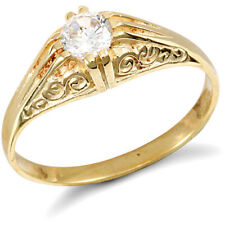 Jewelco London 9ct Gold CZ Solitaire Carved Gypsy Ring