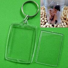 5/10XNew Clear Acrylic Blank Photo Picture Frame Key Ring Keychain Keyring Gift