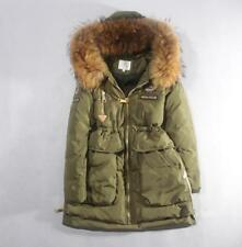 Winter Women Real Fur Collar Hoodie Down Coat Outerwear Parka Warm Jacket 3Color