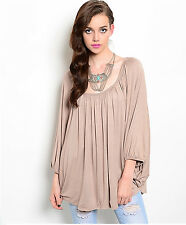 EDG SOLID MOCHA BROWN CASUAL RAYON SPANDEX DRAPE BATWING TOP BLOUSE  M L NEW