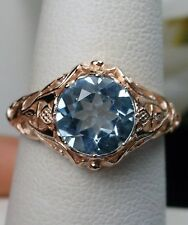 1.8ct Blue Topaz Sterling Silver & Rose Gold Daisy Filigree Ring Size Any/MTO