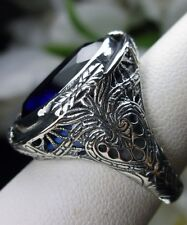 18ct *Blue Sapphire* Solid Sterling Silver Victorian Filigree Ring Size: Any/MTO