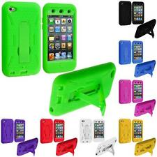 Color Hybrid Hard/Soft Skin Case Cover with Stand for iPod Touch 4th Gen 4G 4