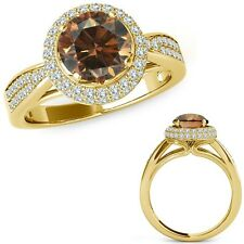 1 Ct Champagne Diamond Cluster Double Halo Vintage Fancy Ring 14K Yellow Gold