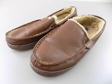 Club Room $75 MEN'S SHOES Polyurethane Moccasin Slippers SZ 8-9 Brown USED S13