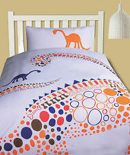 DINOSAUR ORANGE - Boys Quilt Duvet Doona Cover Set - SINGLE DOUBLE