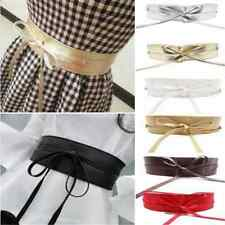 Newest Women's Soft Leather Wide Self Tie Wrap Around Obi Waist Band Dress Belt