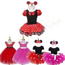 Kids Girls Baby Princess Minnie Mouse Outfits Party Costume Tutu Dress +Headband
