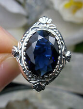 5ct *Sapphire* Solid Sterling Silver Victorian Wreath Filigree Ring Size Any/MTO