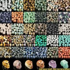 16mm hand carved skull statue natural gemstone crystal healing spacer beads lot