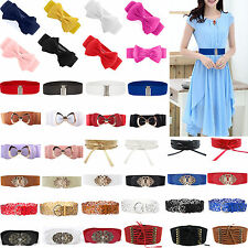 Fashion Womens Ladies Waist Belts Buckle Wide Elastic Leather Stretch Waistband