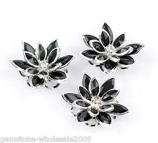 Wholesale Lots Craft Silver Plated Black Flower Embellishment Findings 3.5x3cm