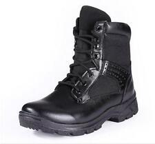 Mens military high top boots combat outdoor work tactical mid calf lace up boots