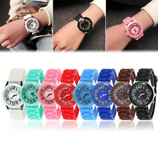 NEW Fashion Geneva Women Men Watch Silicone Jelly Rubber Quartz Wrist Watch