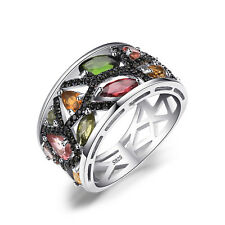 JewelryPalace Natural Tourmaline Black Spinel Cocktail Ring 925 Sterling Silver