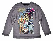 Star Wars Force Awakens Boys T-Shirt Gray Long Sleeve Rebels Droids Disney Print