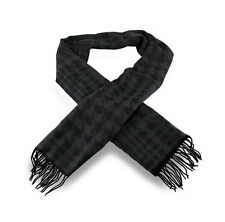100% Cashmere Black / Charcoal Gray Houndstooth Fringed Scarf