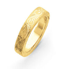 14K Yellow Gold 5mm Swirl Etched Design Wedding Band Ring Sizes 5 - 12