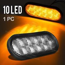 """Amber/Yellow 6"""" 10 LED Oval Stop Turn Tail Signal Light Clear Lens Truck Trailer"""