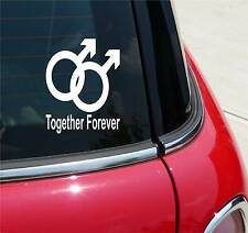 GAY MALE TOGETHER FOREVER HOMOSEXUAL GRAPHIC DECAL STICKER ART CAR WALL DECOR
