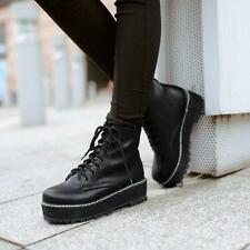 Womens Creepers Platform wedge heel Lace Up Military Moto Ankle Boots work Shoes