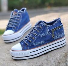 School girls Womens Denim Sneakers wedge heel Casual Lace Up Hiking canvas Shoes