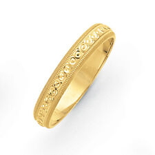 14K Yellow Gold 3mm Swirled Milgrain Etched Design Wedding Band Ring Sz 5 - 8.5