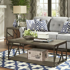 TRIBECCA HOME Lincoln Metal Open Shelf Distressed Wood Occasional Table