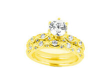 1.50Ct Round Cut Diamond Engagement Ring Wedding Band Set Solid 18k Gold G SI1