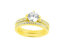 Natural 1.0Ct Round Cut Diamond Engagement Ring Wedding Band Set Solid 10kt Gold