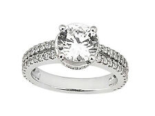 Natural 1.00Ct Round Cut Diamond 2Row Engagement Ring Solid 10k Gold GH I1