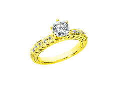Genuine 0.75Ct Round Diamond Engagement Ring Pave Accents Solid 10k Gold
