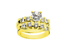 Natural 1.60Ct Round Cut Diamond Engagement Ring Set Solid 14k Gold I SI2