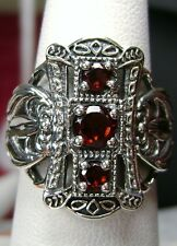 Natural Red Garnet Solid Sterling Silver Edwardian Filigree Ring Size: Any/MTO