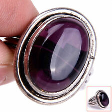Handmade 925 Sterling Silver Natural Purple Agate Gemstone Ring Size 8.25 M1101