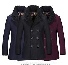 Mens Winter plus thick double breasted fur collar woolen long trench overcoat