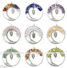 7 Chakra Tree of Life Chip Beads Gemstone Stone Owl Charm Pendant Fit Necklace