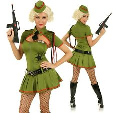 Womens Role Play Soldier Costume Army Pin Up Girl Fancy Dress Hens Party Outfit