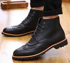 New Mens oxford Brogue Casual chukkas Wingtip lace up ankle Boots shoes Size