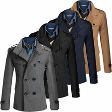 Stylish Mens Double Breasted Wool Trench Coat Winter Long Formal Jacket Overcoat